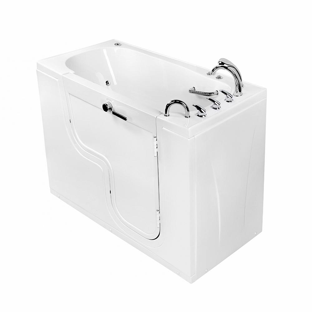 Ella Wheelchair Transfer 60 in. Acrylic Walk-In Whirlpool and MicroBubble Bathtub in White, Faucet Set, RHS 2 in. Dual Drain