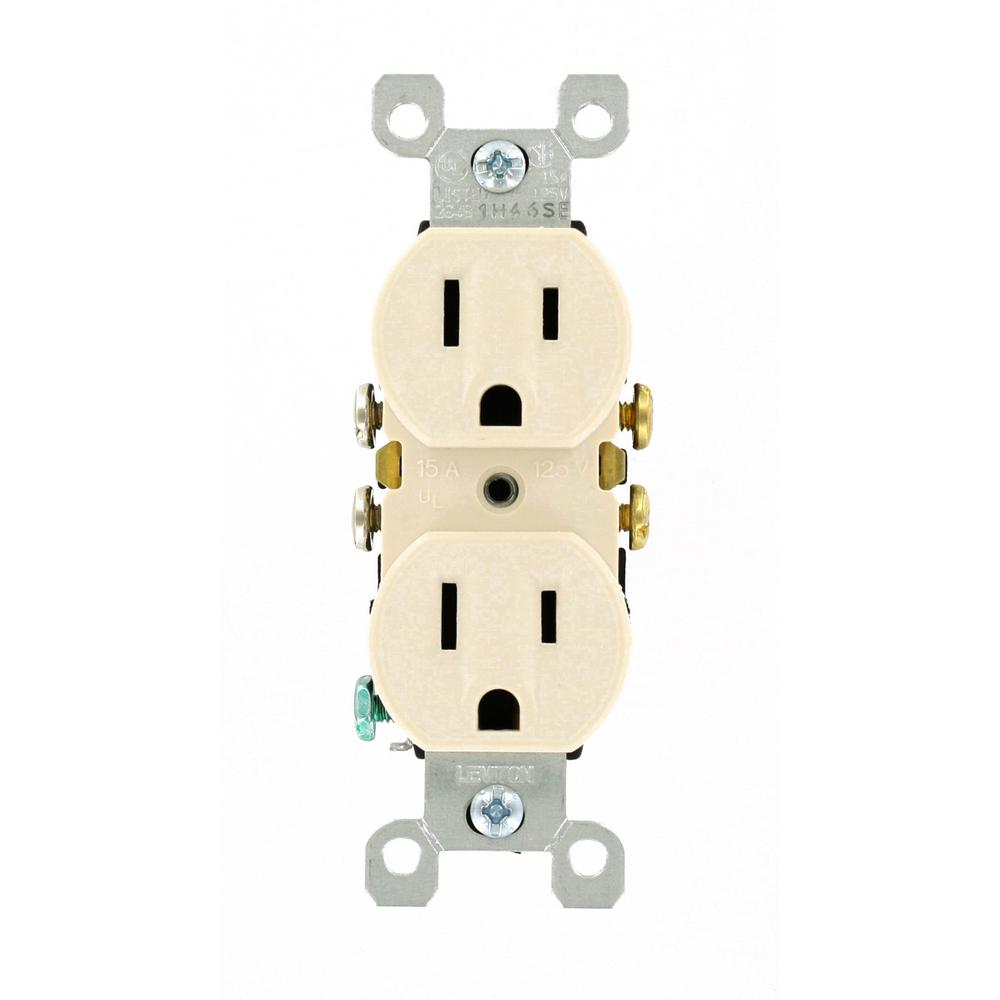 15 Amp Grounding Duplex Power Outlet, Light Almond