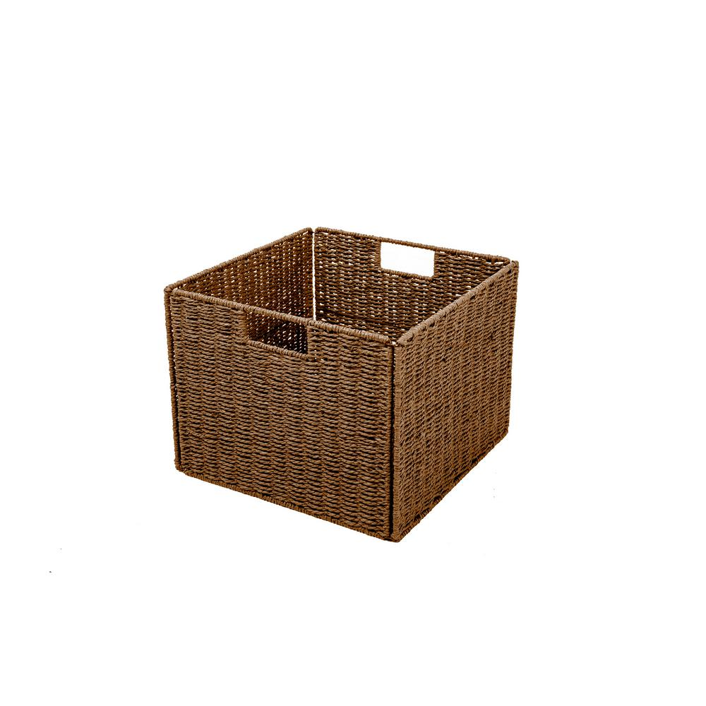 Bon Trademark Innovations Foldable Paper Rope Wicker Storage Basket With Iron  Wire Frame