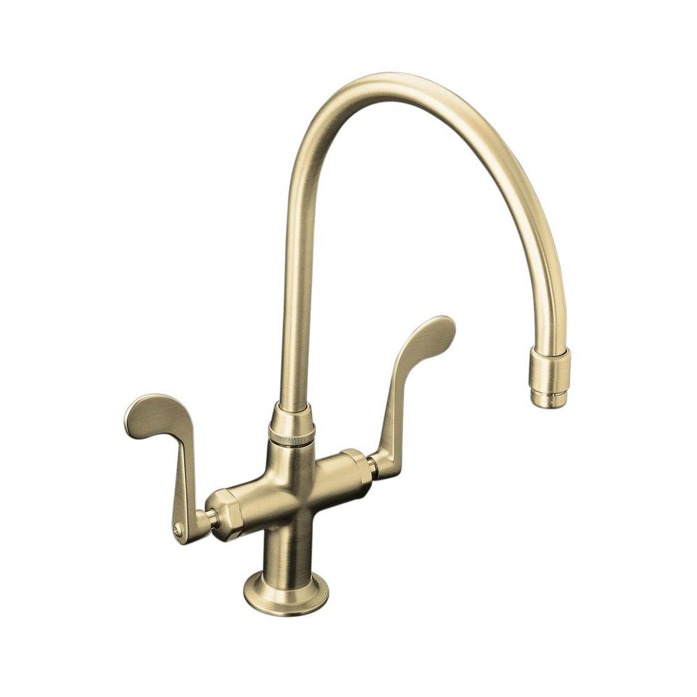 Kohler Essex 2 Handle Standard Kitchen Faucet In Vibrant Brushed