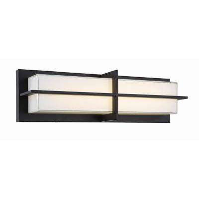 18 in. 20-Watt Aged Bronze Integrated LED Sconce with White Glass Shade