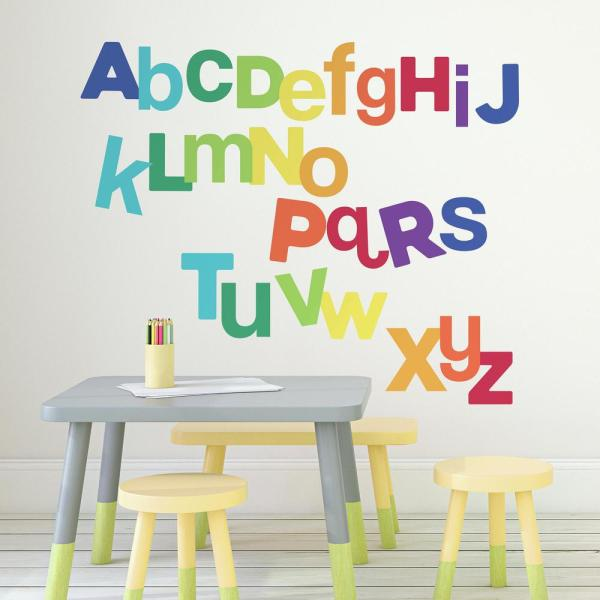 5 in. x 19 in. Multicolored Alphabet 27-Piece Peel and Stick Wall Decals