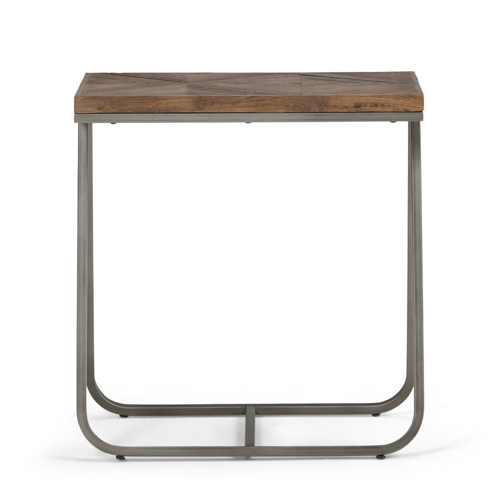 Simpli Home Hailey Distressed Java Brown Wood Inlay Narrow End Side Table
