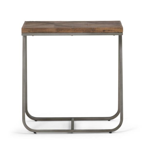 Simpli Home Hailey Solid Aged Elm Wood and Metal 14 in. Wide Modern Industrial Narrow End Table in Distressed Java Brown Wood Inlay