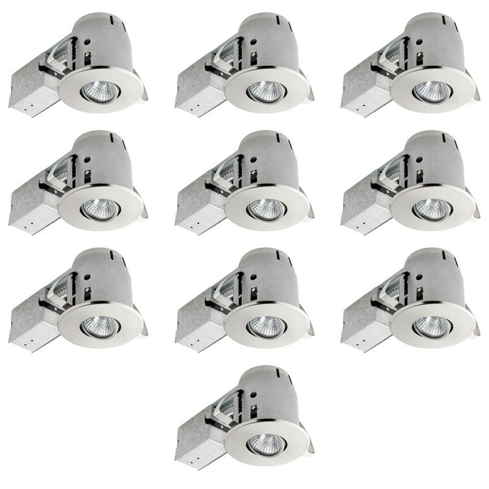 Globe Electric 4 in. Brushed Nickel Dimmable Recessed Lighting Kit (10-Pack)