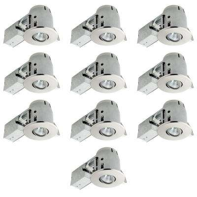 4 in. Brushed Nickel Dimmable Recessed Lighting Kit (10-Pack)