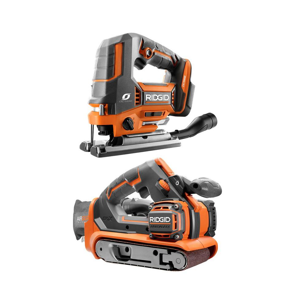 RIDGID 18-Volt Cordless 2-Tool Combo Kit with OCTANE Brushless Jig Saw and Brushless 3 in. x 18 in. Belt Sander (Tools Only) was $248.0 now $179.0 (28.0% off)