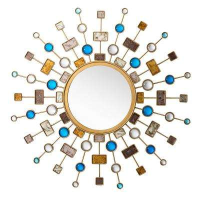 Celestial 46 in. W x 46 in. H Framed Wall Mirror in Brushed Gold