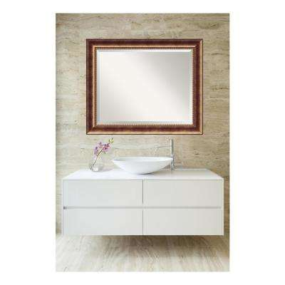 Manhattan Burnished Bronze Wood 34 in. W x 28 in. H Single Contemporary Bathroom Vanity Mirror