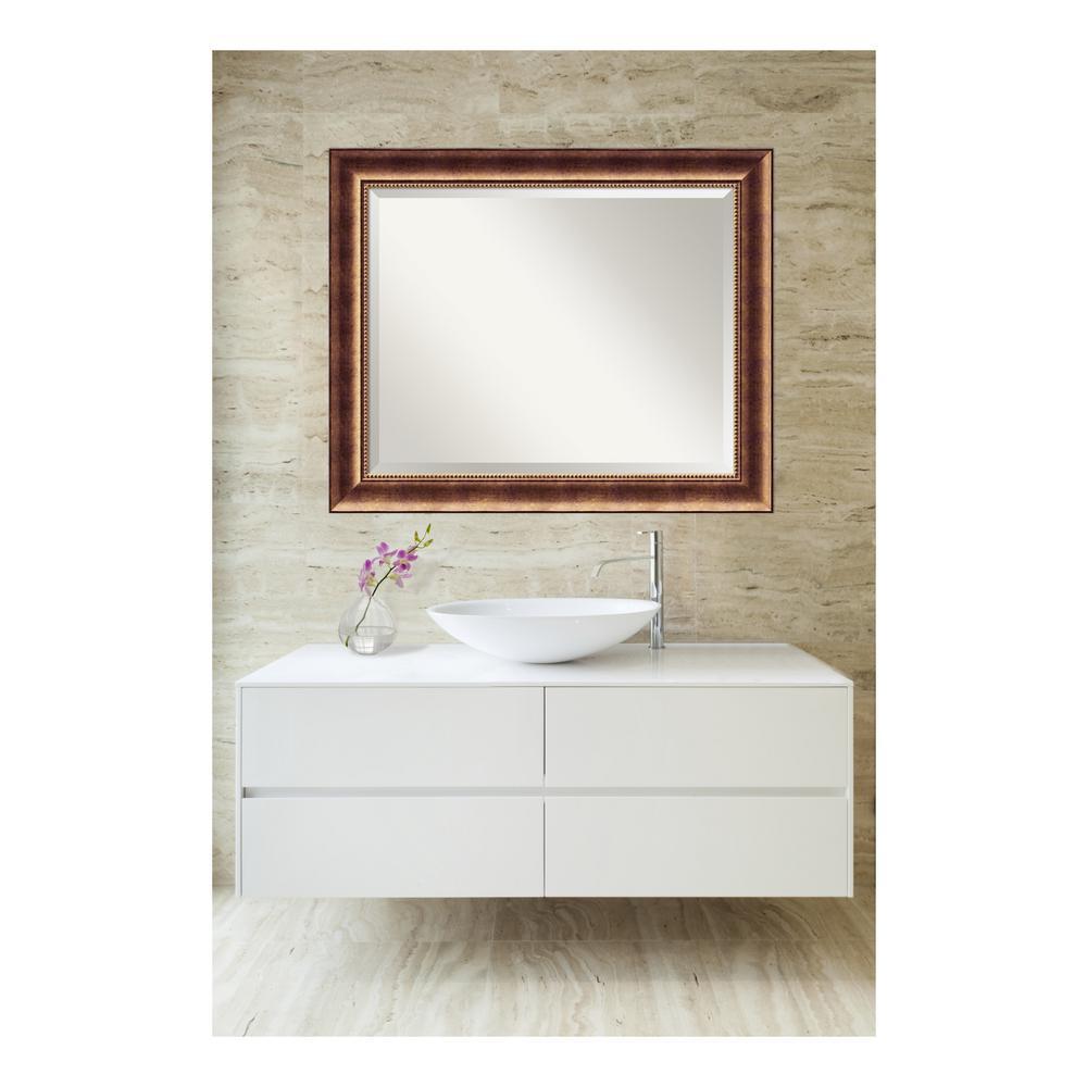 Manhattan Burnished Bronze Wood 34 in. W x 28 in. H Single Contemporary Bathroom Vanity Mirror