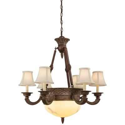 Bali 8-Light Nutmeg Chandelier with China Stone Glass Shade