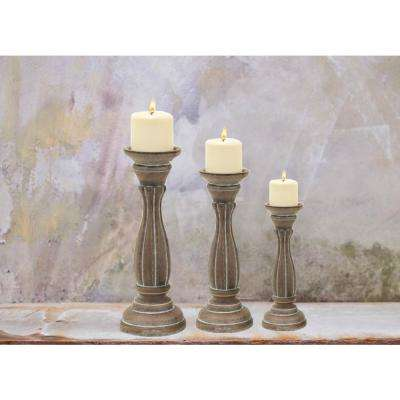 Traditional Style Brown Wooden Pillar Shaped Candle Holder