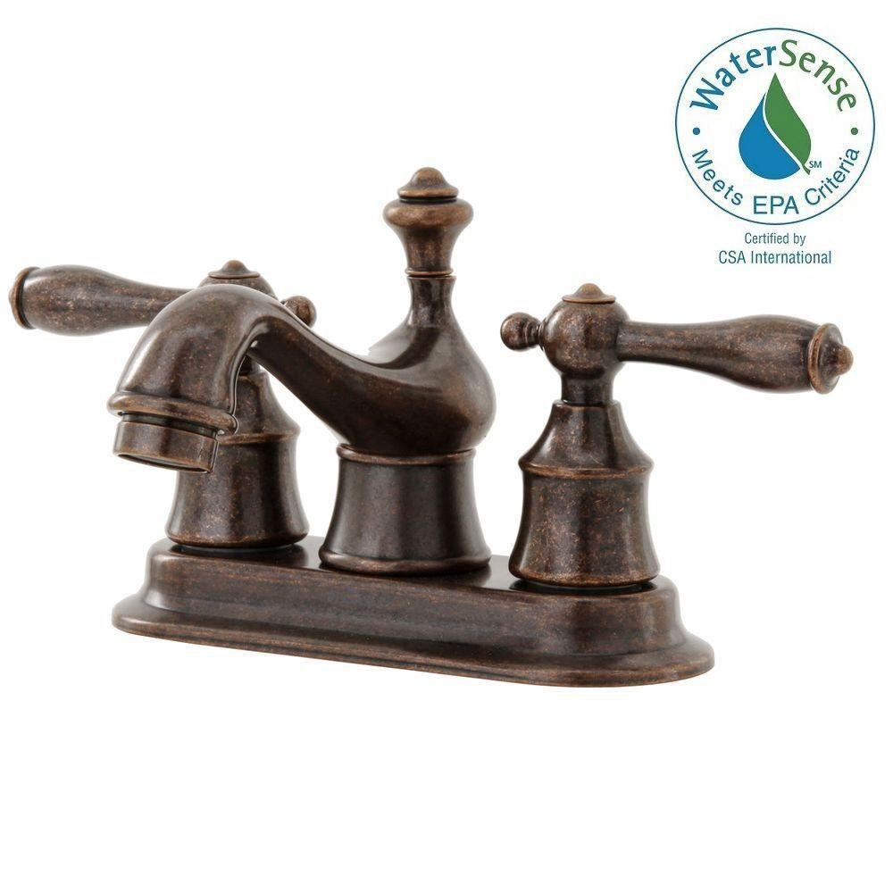 Glacier Bay Estates 4 in. Centerset 2-Handle Low-Arc Bathroom Faucet in Heritage Bronze