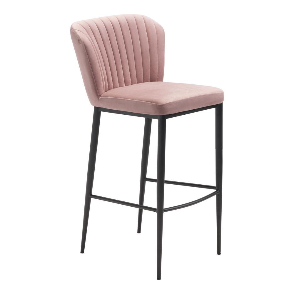 Tolivere 41.3 in. Pink Velvet Bar Chair (Set of 2)