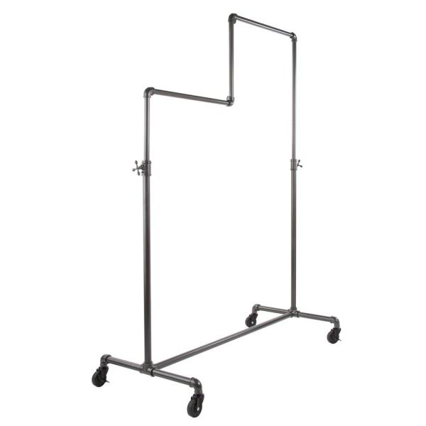Pipeline Gray Steel Double Adjustable Clothes Rack With Wheels (50 in. W x 78 in. H)