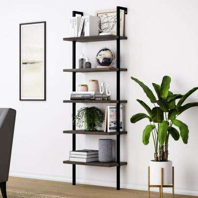 Theo Warm Nutmeg 5-Shelf Ladder Bookcase with Metal Frame