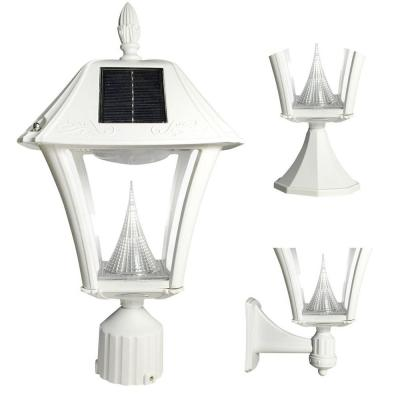 Baytown II White LED Outdoor Resin Solar Post/Wall Light with Warm