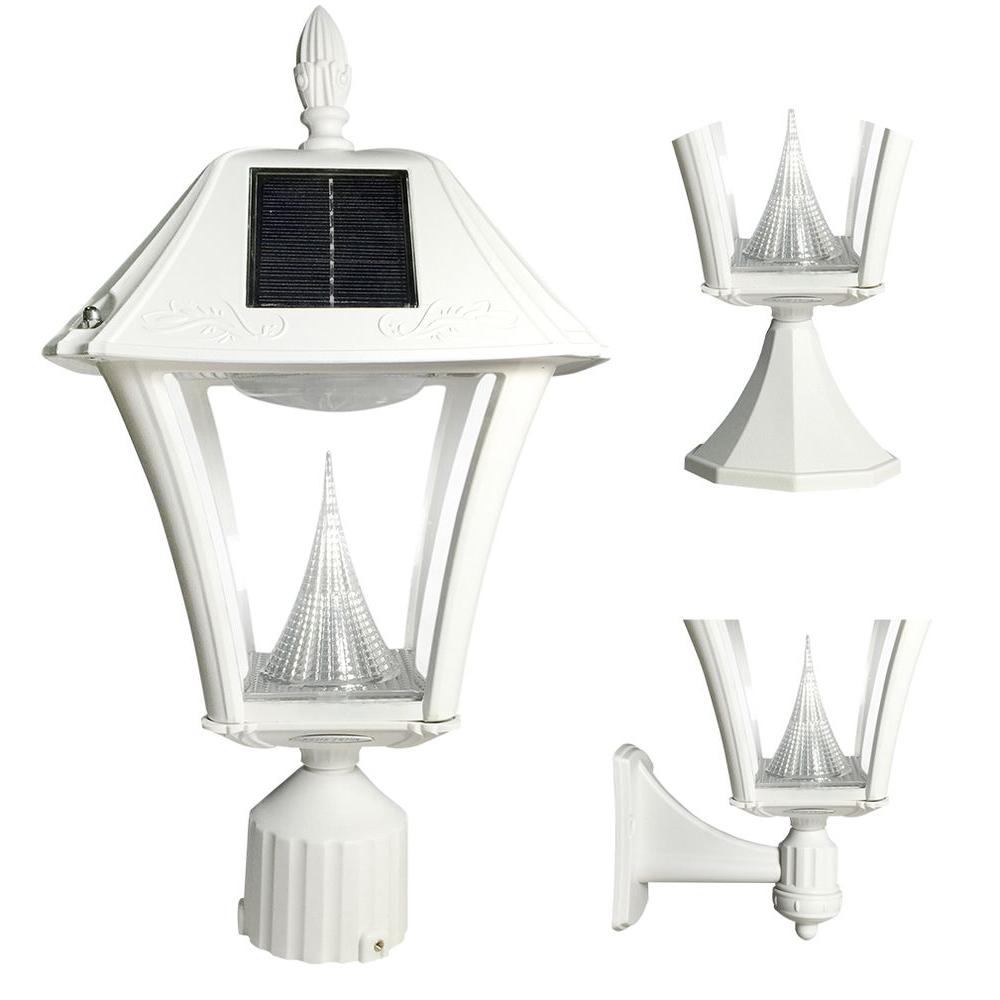 Gama Sonic Baytown Ii White Led Outdoor Resin Solar Post Wall Light With Warm