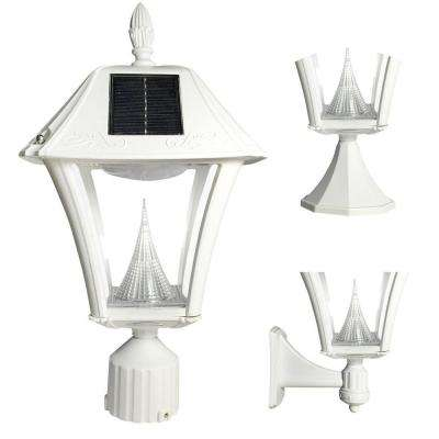 Baytown II Outdoor White Resin Solar Post/Wall Light with Warm-White LED