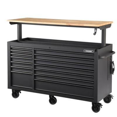 Heavy-Duty 62 in. W 14-Drawer, Deep Tool Chest Mobile Workbench in Matte Black with Adjustable-Height Hardwood Top