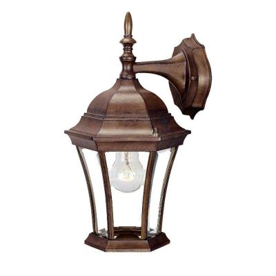 Brynmawr Collection 1-Light Burled Walnut Outdoor Wall Lantern Sconce