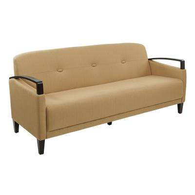 Main Street Woven Wheat Fabric and Dark Espresso Wood Accents Sofa