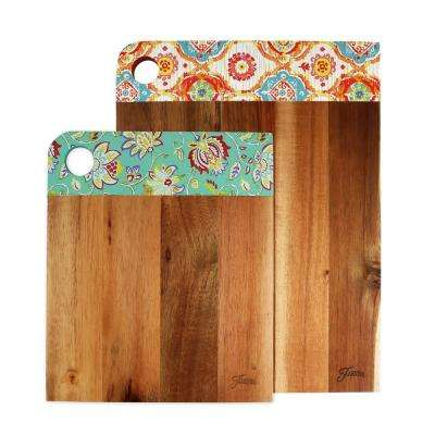 2-Piece Patterned Acacia Wood Cutting Board Set