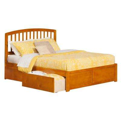 Richmond Caramel King Platform Bed with Flat Panel Foot Board and 2-Urban Bed Drawers