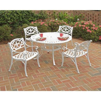 Sanibel 48 in. White 5-Piece Cast Aluminum Round Outdoor Dining Set