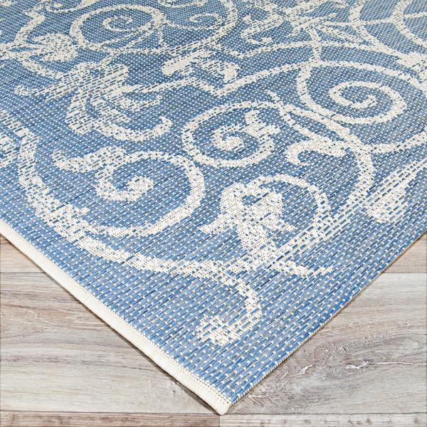 Couristan Monaco Summer Quay Ivory Sapphire 8 Ft X 11 Ft Indoor Outdoor Area Rug 21063143076109t The Home Depot