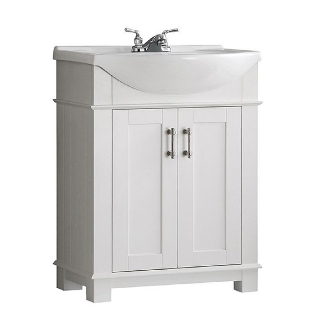 Perfect W Traditional Bathroom Vanity In White With Ceramic Vanity Top In