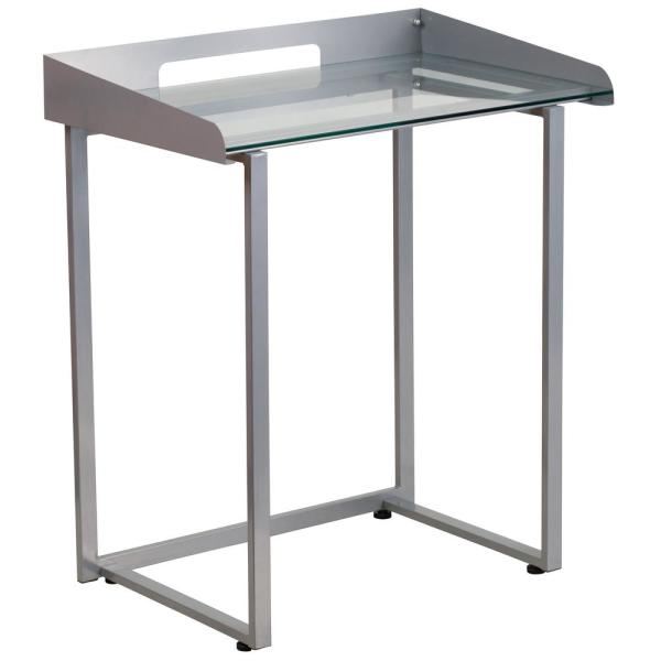 27.5 in. Rectangular Clear/Silver Computer Desks with Glass Top