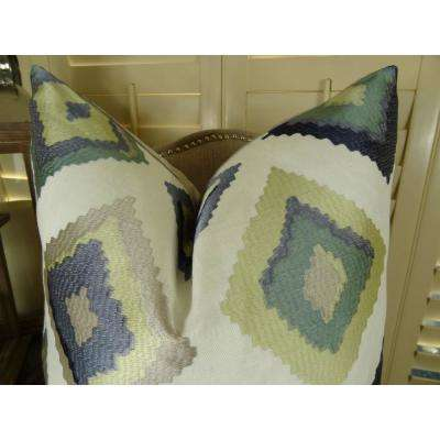 Native Trail Dew 26 in. x 26 in. White, Navy and Lime Hypoallergenic Down Alternative Double Sided Throw Pillow