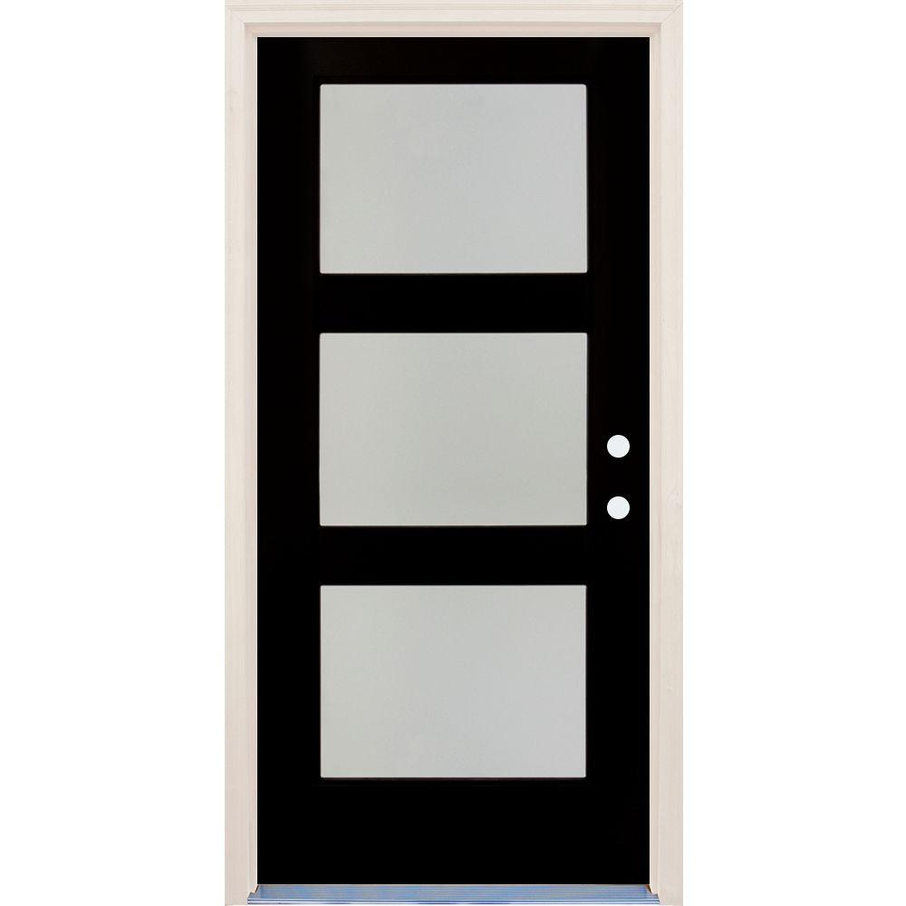 Builderu0027s Choice 36in.x80in.Elite Inkwell Etch Glass Contemporary LeftHand 3Lite Satin Painted Fiberglass  sc 1 st  The Home Depot & Builderu0027s Choice 36in.x80in.Elite Inkwell Etch Glass Contemporary ... pezcame.com