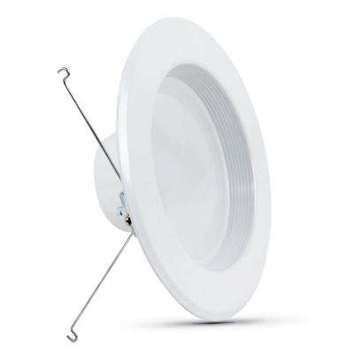 5/6 in. 75-Watt Equivalent Soft White 2700K CEC Title 24 White Integrated LED Recessed Retrofit Trim Downlight (6-Pack)