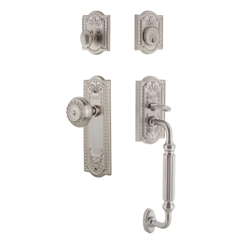 Meadows Plate 2-3/4 in. Backset Satin Nickel F Grip Entry Set