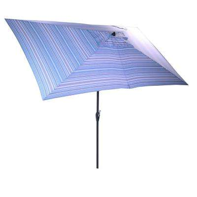 10 ft. x 6 ft. Aluminum Market Patio Umbrella in Charleston Stripe with Push-Button Tilt