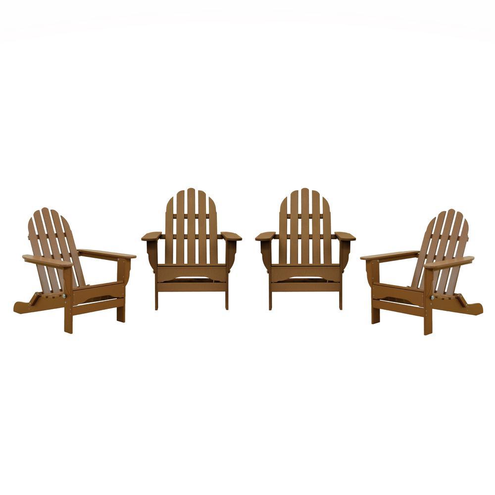 Icon Teak 4-Piece Plastic Adirondack Chair Patio Seating Set