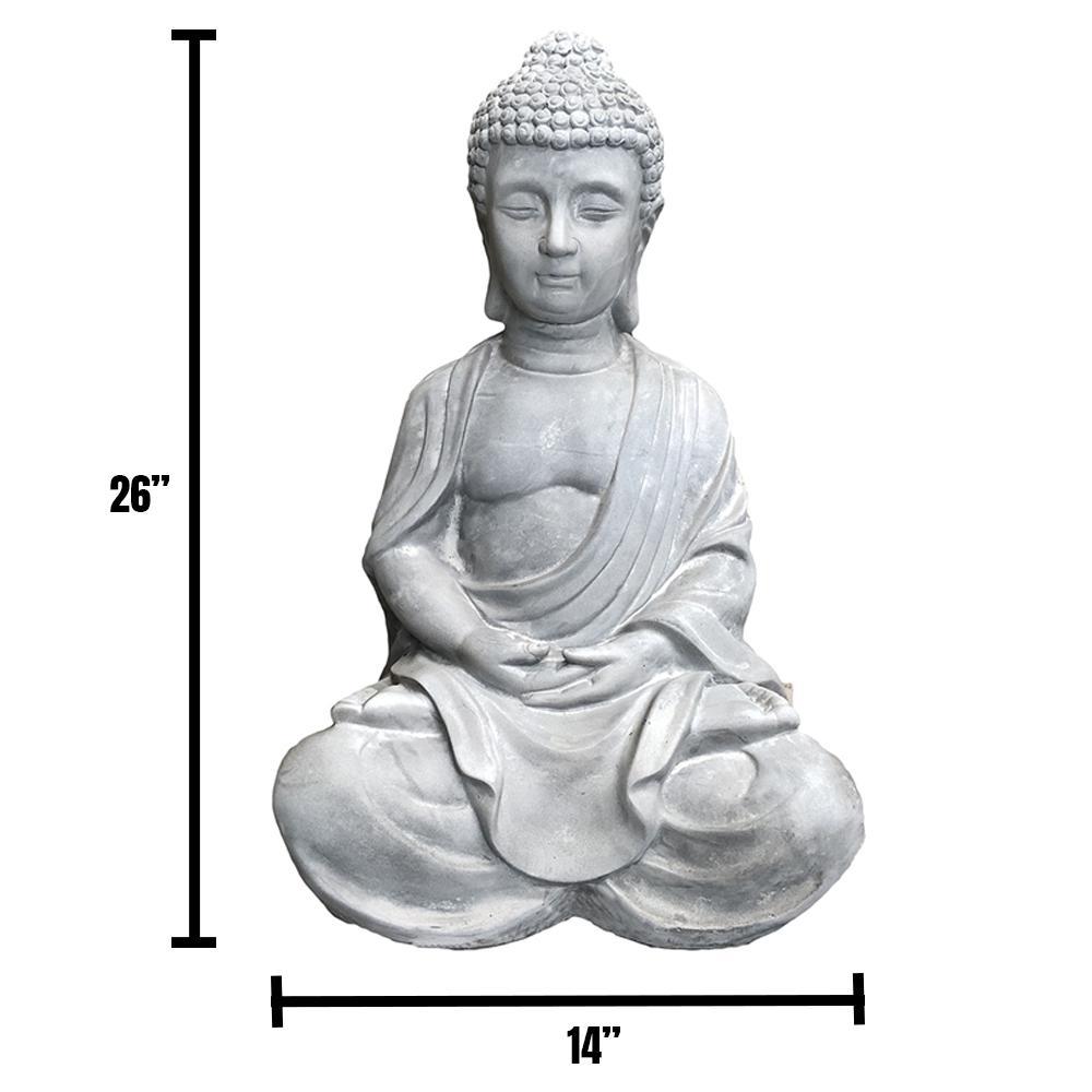 DurX-litecrete 25.6 in. H Lightweight Concrete Sitting Meditating Buddha Statues
