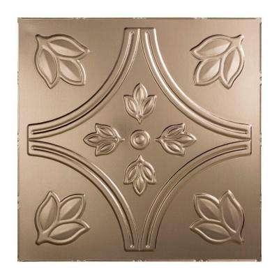 Traditional Style # 5 - 2 ft. x 2 ft. Vinyl Lay-In Ceiling Tile in Brushed Nickel