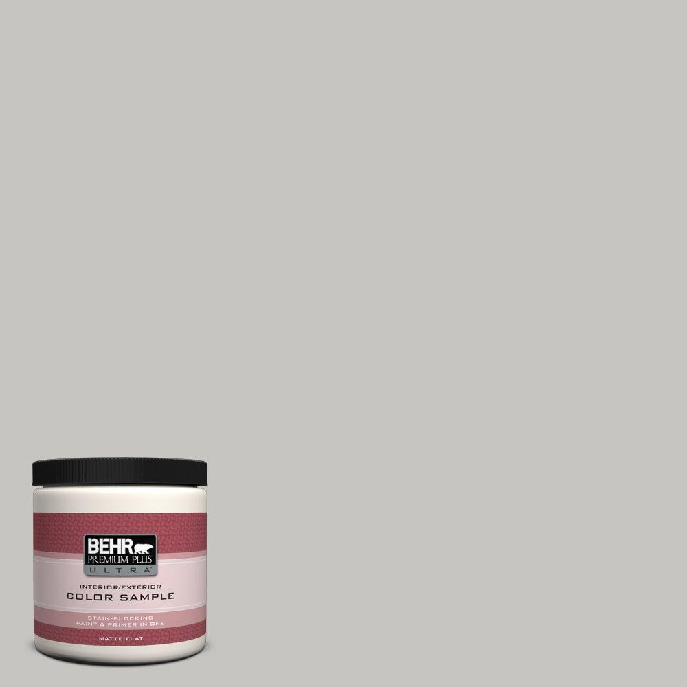 BEHR Premium Plus Ultra 8 oz. #UL260-16 Silver Sateen Interior/Exterior Paint Sample