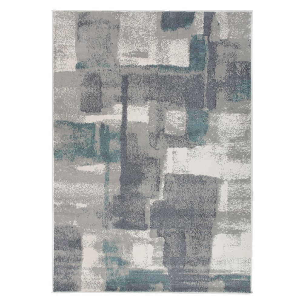 World Rug Gallery Contemporary Geometric Boxes Design Gray 3 Ft 3