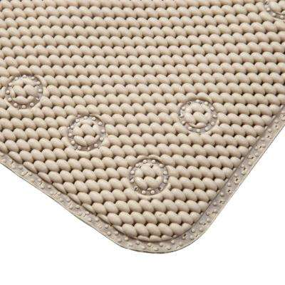 15.5 in. x 27.5 in. Non-Slip Cushioned Foam Bath, Shower and Tub Mat with Suction Cups in Taupe