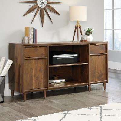 59 in. Rectangular Grand Walnut 2 Drawer Computer Desk with Solid Wood Material