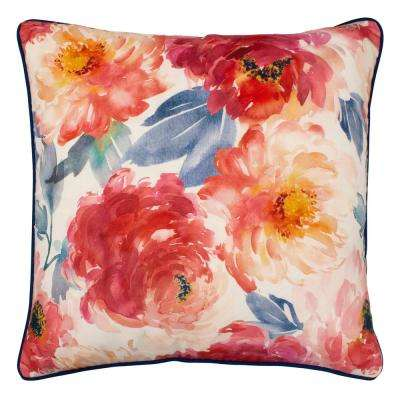 Peony Bloom 20 in. x 20 in. Standard Decorative Pillow, White