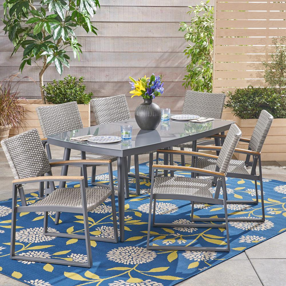 Noble House Manchester Gray 7-Piece Aluminum And Wicker