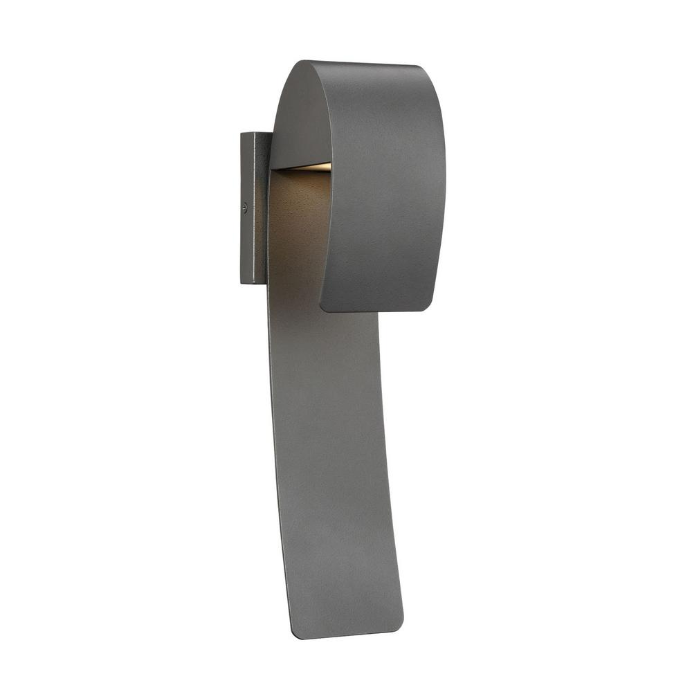 Home Decorators Collection Raveney 1-Light Grey Iron Outdoor Integrated LED Wall Lantern Sconce with Etched Lens
