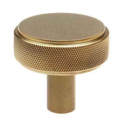 1-1/2 in. Satin Gold Solid Round Knurled Cabinet Drawer Knobs (10-Pack)