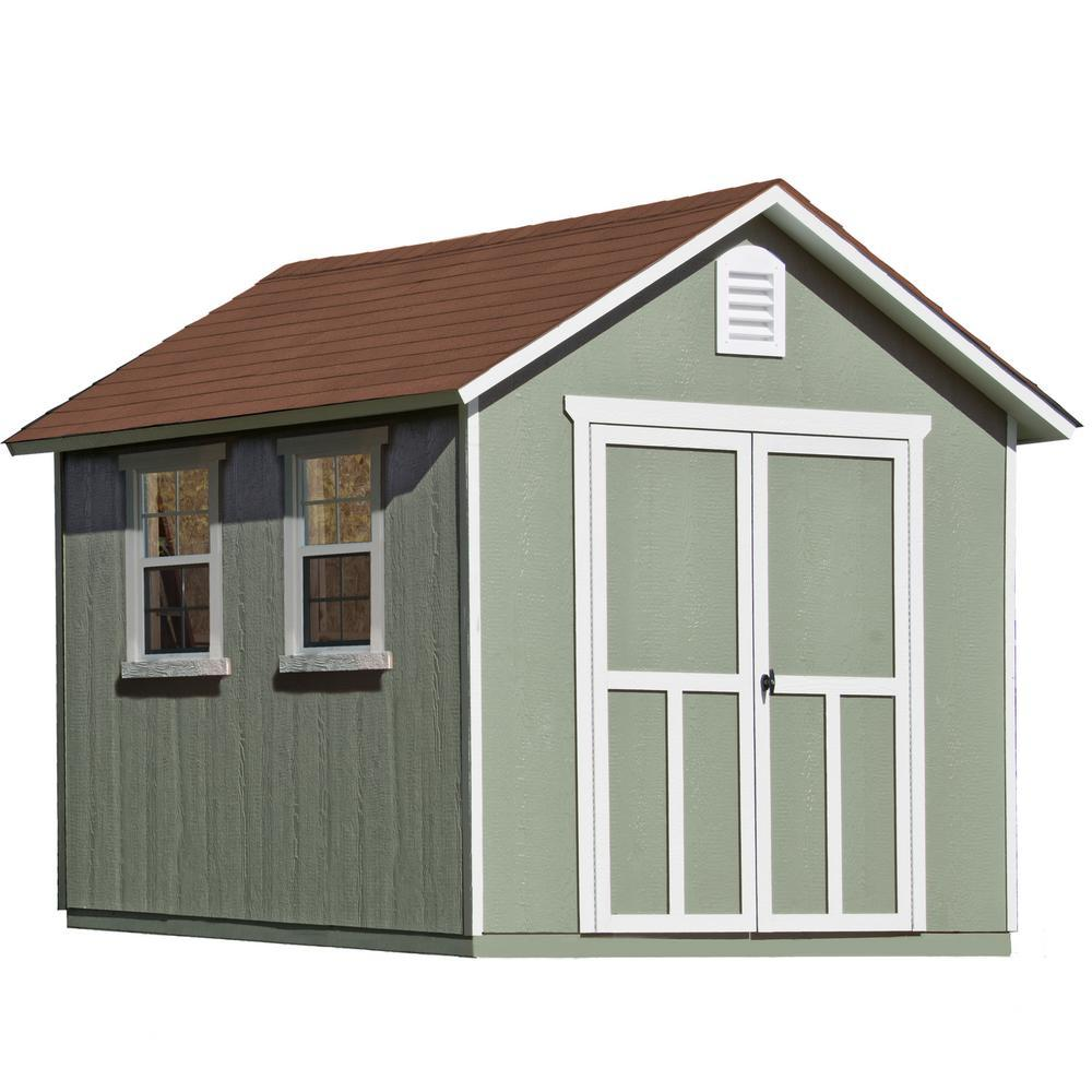 Installed Meridian Deluxe 8 ft. x 12 ft. Wood Storage Shed