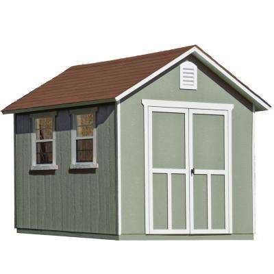 Installed Meridian Deluxe 8 ft. x 12 ft. Wood Storage Shed with Upgrades and Driftwood Shingles